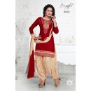 Party Wear Red Cambric Cotton Patiyala Suit - Chitra8002