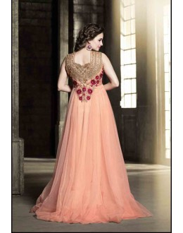 Praty Wear Peach Designer Anarkali suit  - 25004