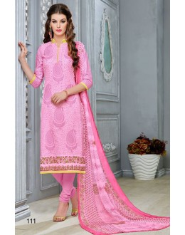Festival Wear Pink Chanderi Cotton Salwar Suit  - DairyMilkVol12111