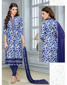Ethnic Wear Blue Chanderi Cotton Salwar Suit  - DairyMilkVol12112