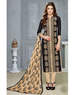 Festival Wear Black Chanderi Cotton Salwar Suit  - DairyMilkVol12113