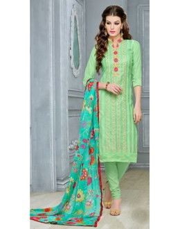 Office Wear Green Chanderi Cotton Salwar Suit  - DairyMilkVol12115