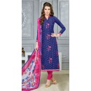 Office Wear Blue Chanderi Cotton Salwar Suit  - DairyMilkVol12119