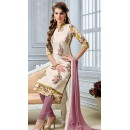 Office Wear Cream Chanderi Cotton Salwar Suit  - DairyMilkVol12120