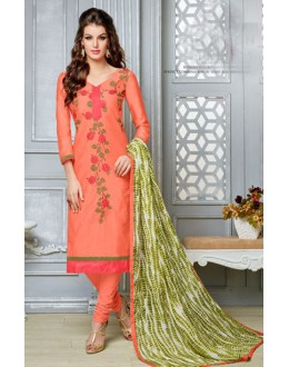 Casual Wear Orange Chanderi Cotton Salwar Suit  - DairyMilkVol12121