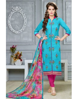 Festival Wear Sky Blue Chanderi Cotton Salwar Suit  - DairyMilkVol12122