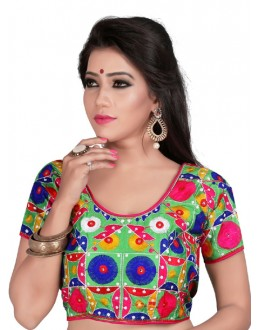 Designer Readymade Green Cotton Blouse - Deepali2009
