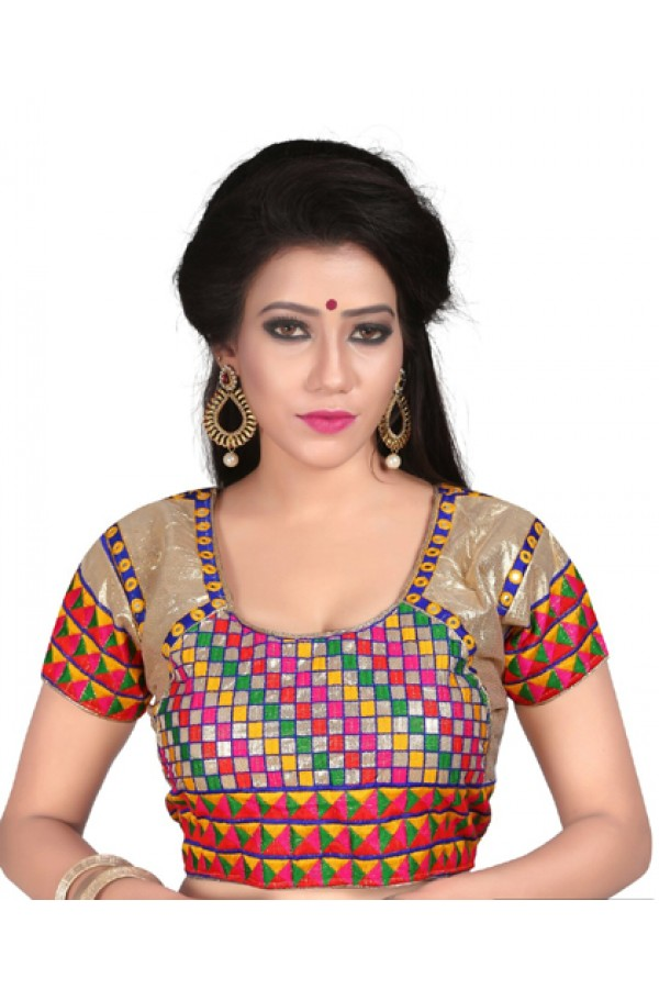 Traditional Readymade Multicolour Silk Blouse - Deepali2111