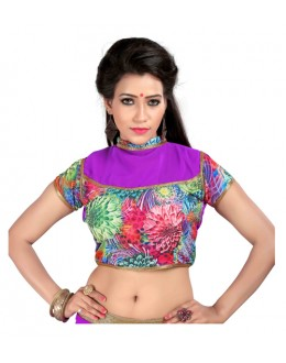 Designer Readymade Purple Blouse - FlowerrRani03