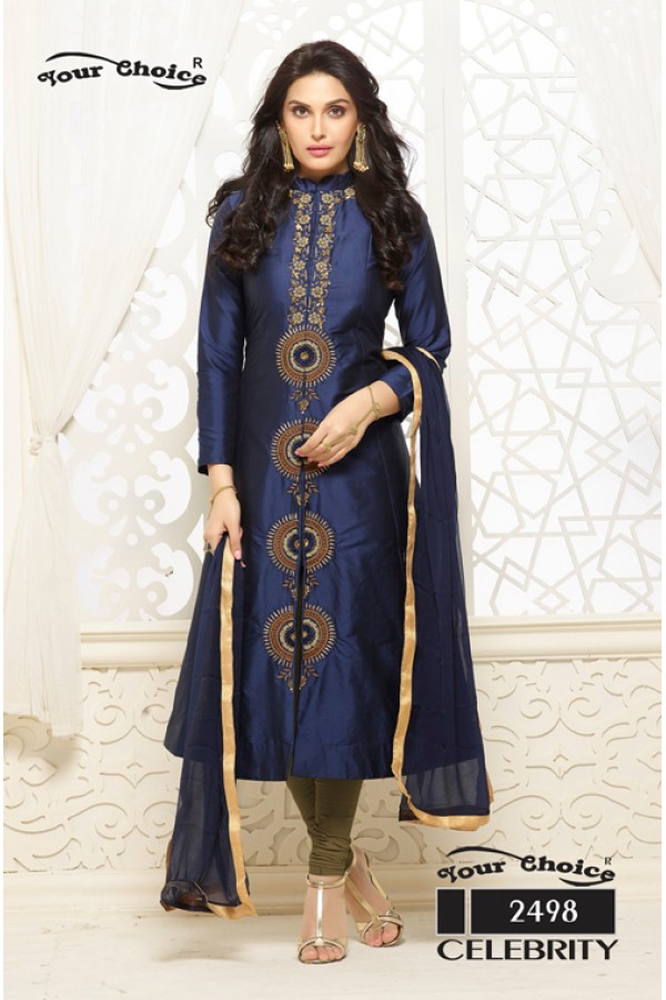 Party Wear Blue Cotton Salwar Suit - Gazal2498