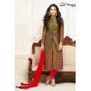 Office Wear Mahendi Cotton Salwar Suit - Gazal2502