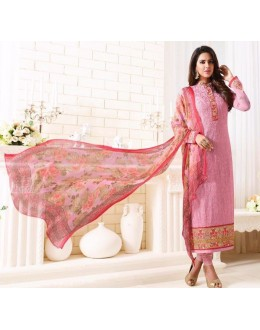 Party Wear Pink Georgette Embroidered Salwar Suit  - 1501