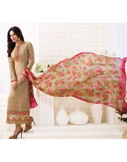 Festival Wear Beige & Pink Georgette Churidar Suit  - 1502