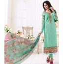 Festival Wear Sea Green & Pink Georgette Churidar Suit  - 1505
