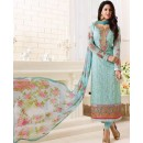 Designer Turquoise Georgette Embroidered Salwar Suit  - 1509