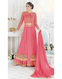 Party Wear Light Pink Georgette Lehenga Suit - Glossy7213