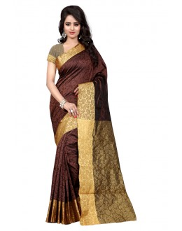 Ethnic Wear Cotton Silk Saree  - GULABO FLOWER COFFEE