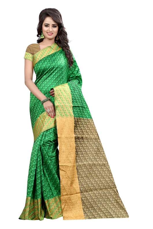 Festival Wear Cotton Silk Saree  - GULABO PAN GREEN