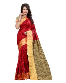 Ethnic Wear Cotton Silk Saree  - GULABO ROUND RED