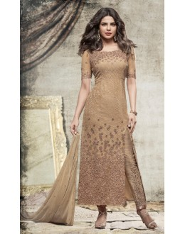 Priyanka Chopra In Golden Net Slit Salwar Suit  - Heroine5148