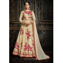 Festival Wear Cream Pure Georgette Anarkali Suit  - 3995