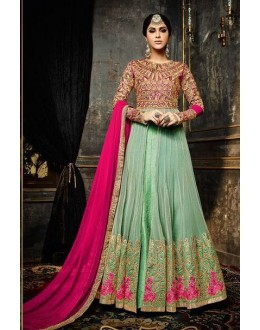 Party Wear Green & Pink Anarkali Suit  - 3996