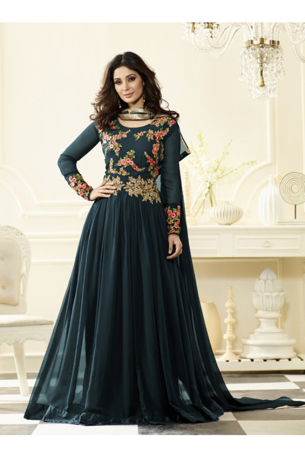 Festival Wear Dark Green Georgette Anarkali Suit - Jashn-C