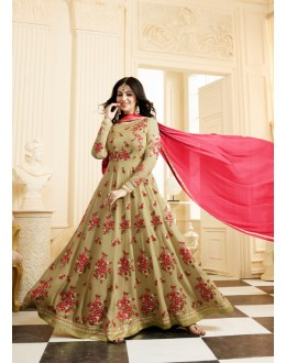 Party Wear Golden Georgette  Anarkali Suit - Jashn-F
