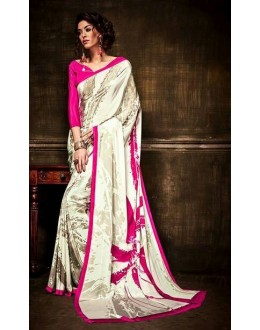Casual Wear White & Pink Crepe Silk Saree  - Kaalina13004