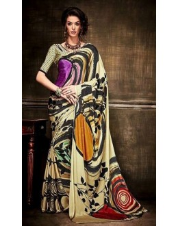 Casual Wear Multi-Colour Crepe Silk Saree  - Kaalina13006