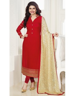 Ethnic Wear Red & Cream Georgette Salwar Suit - Kashish4025