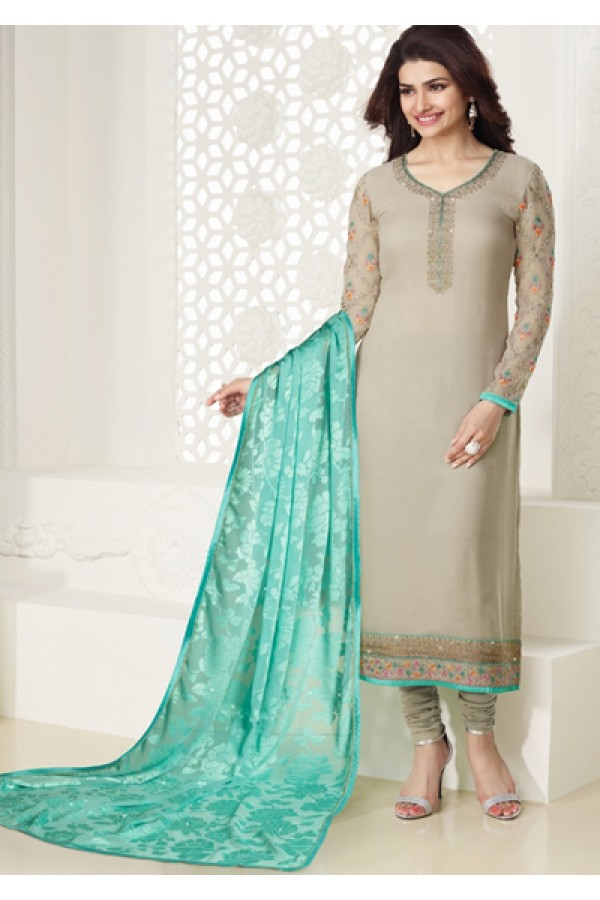Party Wear Grey & Sky Blue Georgette Salwar Suit - Kashish4026