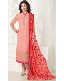Festival Wear Peach & Red Georgette Salwar Suit - Kashish4027