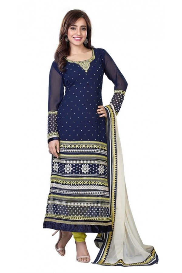 Wedding Wear Blue Georgette Salwar Suit  - 11303
