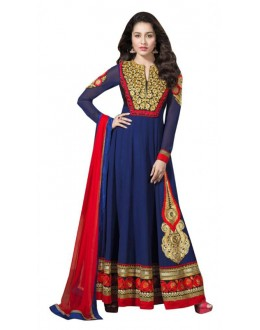 Wedding Wear Blue Georgette Anarkali Suit  - 11505