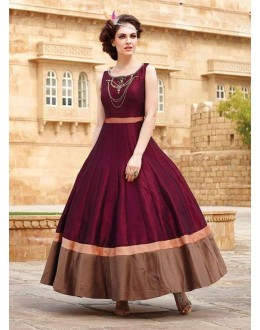 Ready -Made Ethnic Wear Maroon Tapeta Silk Gown - Liza02