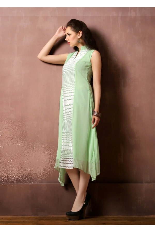 Party Wear Readymade Light Green Kurti - Lopa7042