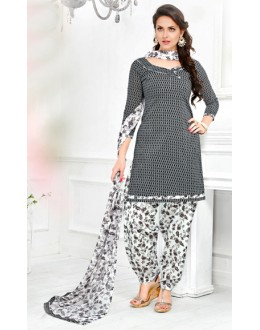 Casual Wear Black & White Cotton Patiyala Suit  - Manjari1011