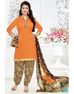 Ethnic Wear Orange & Chickoo Cotton Patiyala Suit  - Manjari15001