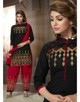 Festival Wear Black Cotton Patiyala Suit  - ManjariLFA151-04