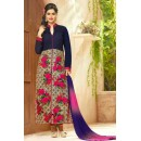 Party Wear Blue & Pink Cotton Salwar Suit - MannatR3