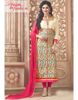 Ethnic Wear Cream & Pink Cotton Salwar Suit - MannatR4