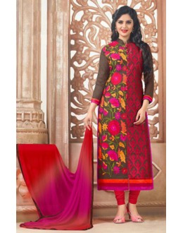 Festival Wear Red Cotton Embroidery Salwar Suit - MannatR5