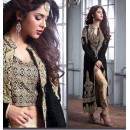 Party Wear Black Velvet Slit Salwar Suit  - Maskeen23004