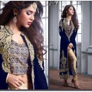 Wedding Wear Blue Velvet Slit Salwar Suit  - Maskeen23006