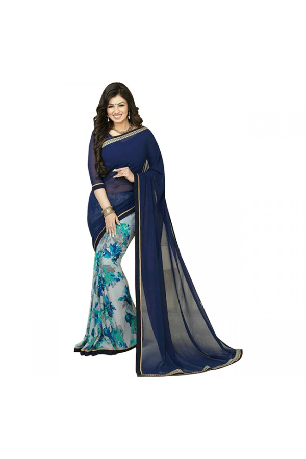 Party Wear Blue Gray Georgette Designer Saree  - M2