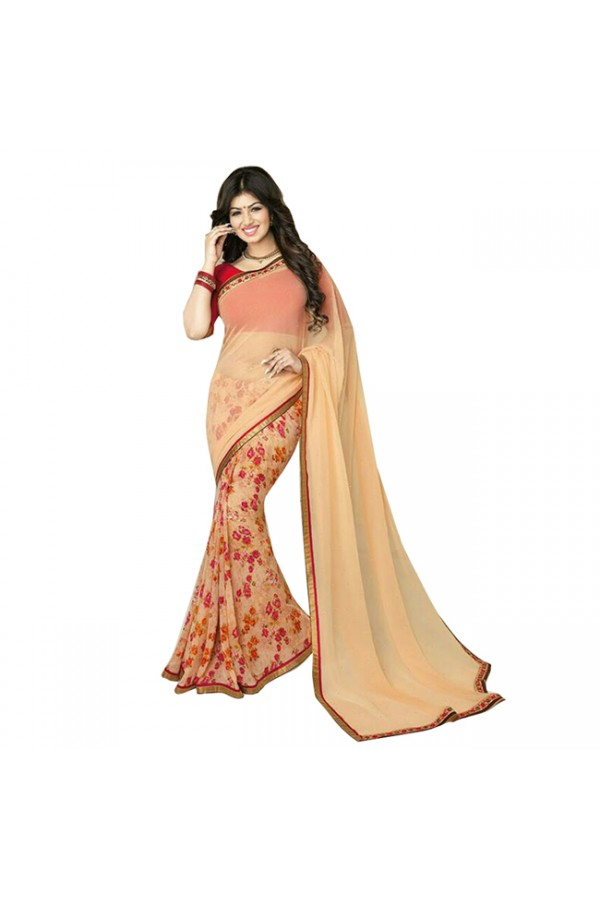 Party Wear Red Peach Georgette Designer Saree  - M5