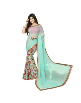 Party Wear Sky Blue Georgette Designer Saree  - M9