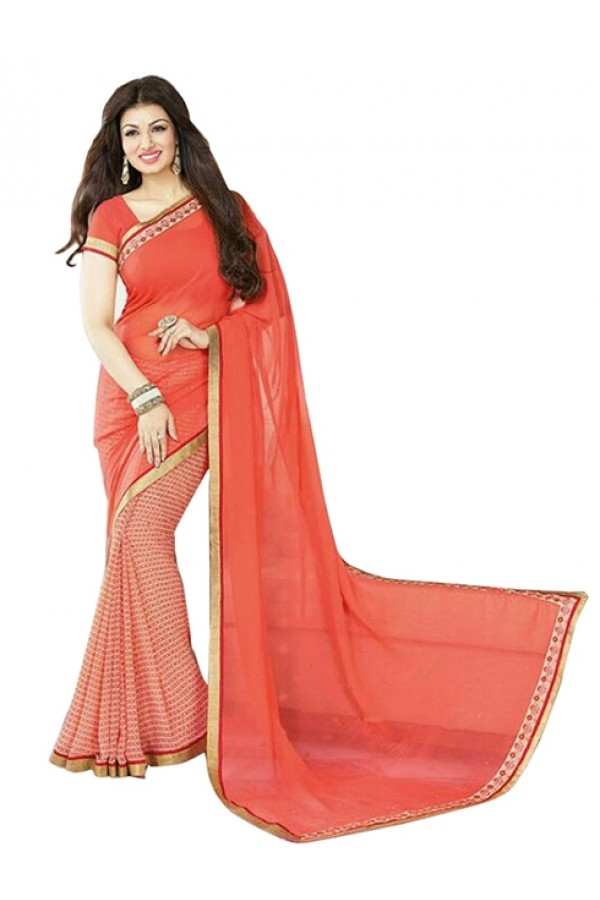 Party Wear Orange White Georgette Designer Saree  - M10