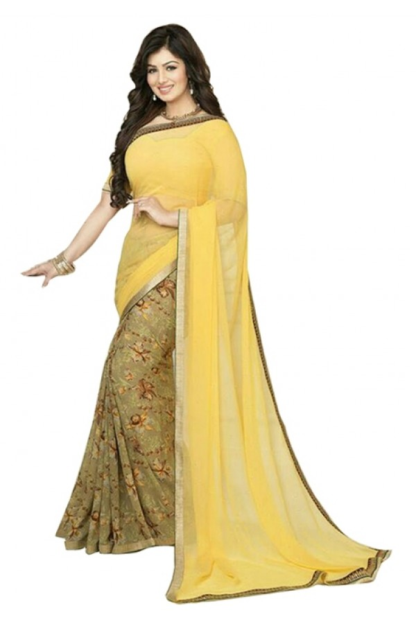 Party Wear Yellow Green Georgette Designer Saree  - M11